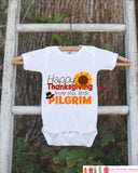 Novelty Thanksgiving Outfit - Little Pilgrim Thanksgiving Shirt - Baby Novelty Onepiece - Baby Boy or Girl - Happy Thanksgiving Bodysuit - Get The Party Started