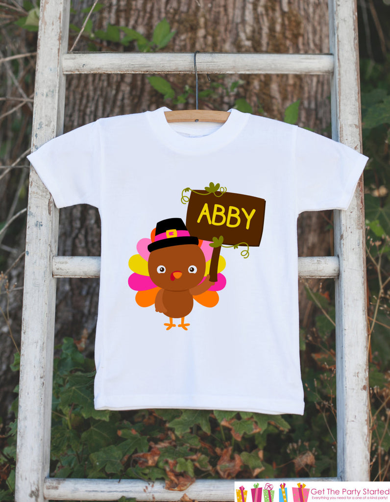 Thanksgiving Shirt - Baby Turkey Onepiece - Fall Outfit for Baby Girl - Personalized Turkey Shirt with Name - Novelty Shirt - Pink Turkey - Get The Party Started