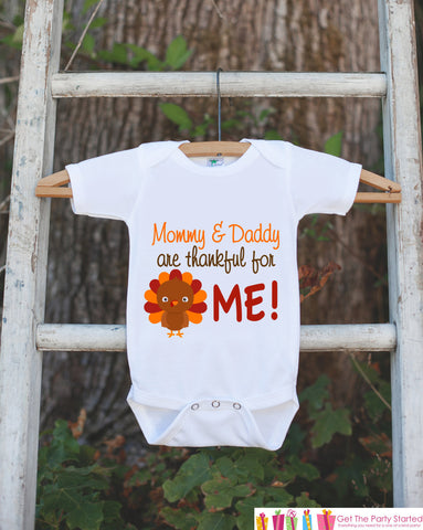 Thanksgiving Onepiece - Thanksgiving Shirt - Thankful For Me Outfit - New Baby Boy or Baby Girl - 1st Thanksgiving - Pregnancy Announcement - Get The Party Started
