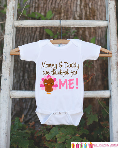 Thanksgiving Onepiece - Thanksgiving Shirt - Novelty Thankful For Me Outfit - New Baby Girl - 1st Thanksgiving Bodysuit - Thankful For Baby - Get The Party Started