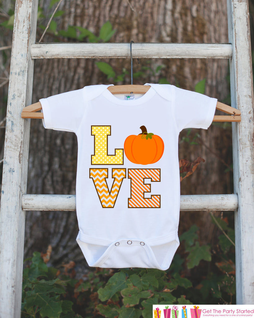 Novelty LOVE Pumpkin Outfit - Thanksgiving Shirt - Baby Novelty Onepiece - Fall Outfit Baby Boy or Girl - Thanksgiving Halloween Bodysuit - Get The Party Started
