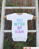 Pregnancy Announcement - You Better Sit Down Outfit for New Baby - Pregnancy Reveal Idea - Baby Announcement - Surprise New Grandparents - Get The Party Started