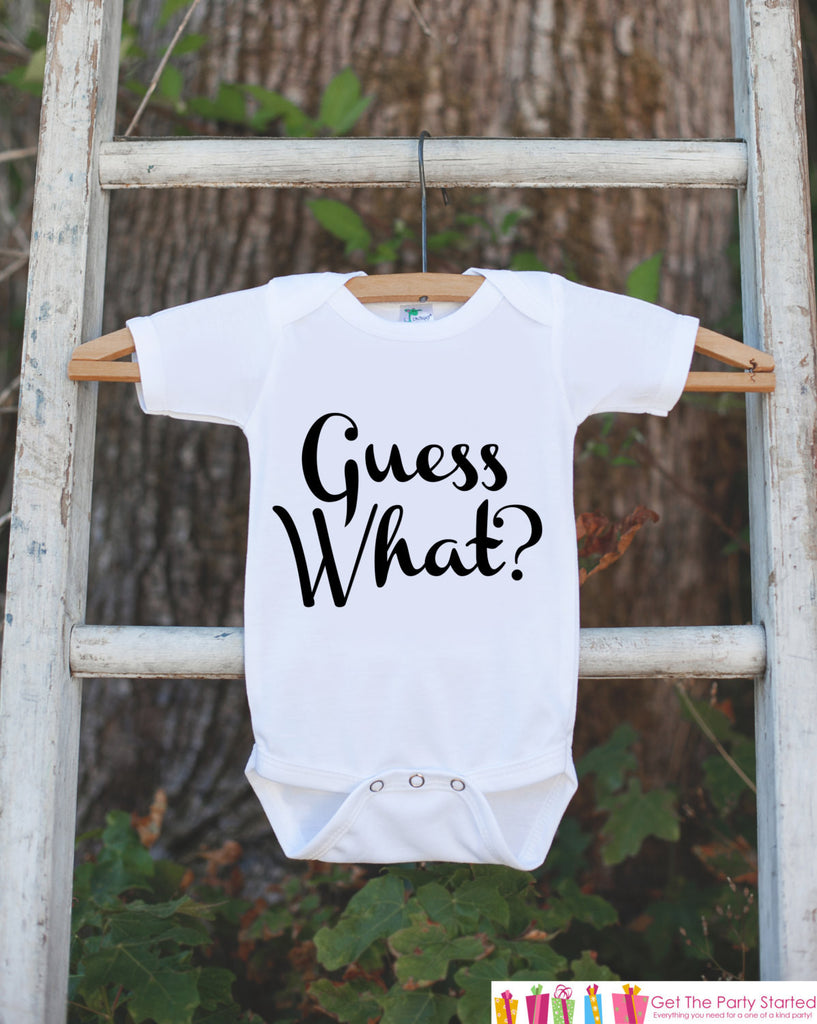 Pregnancy Announcement - Guess What? Outfit for New Baby - Pregnancy Reveal Idea - Baby On The Way Announcement - Surprise New Grandparents - Get The Party Started