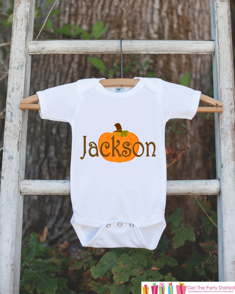 Fall Pumpkin Shirt - Halloween or Thanksgiving Onepiece - Custom Autumn Outfit for New Baby Boy or Baby Girl - Personalized Infant Newborn - Get The Party Started