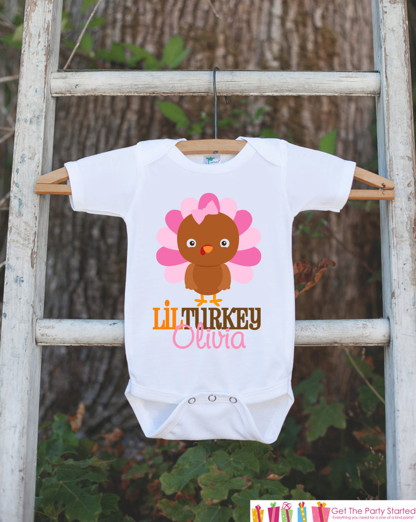 Lil Turkey Thanksgiving Shirt - Thanksgiving Onepiece - Thanksgiving Outfit for New Baby Girl - Custom First Thanksgiving Newborn Infant Top - Get The Party Started