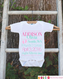 New Baby Girl Birth Announcement Onepiece - Bodysuit for Newborn Baby Girls - Newborn Girl Keepsake Outfit - Infant Photoshoot Outfit Stats - Get The Party Started