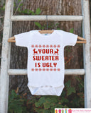 Funny Christmas Outfit - Ugly Christmas Sweater for Kids - Christmas Onepiece - Baby Holiday Sweater Party - Novelty Humorous Sweater Outfit - Get The Party Started