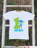 First Birthday Robot Outfit - Personalized Robot Bodysuit For Boy's 1st Birthday Party - Robot Bodysuit Birthday Onepiece With Name & Age