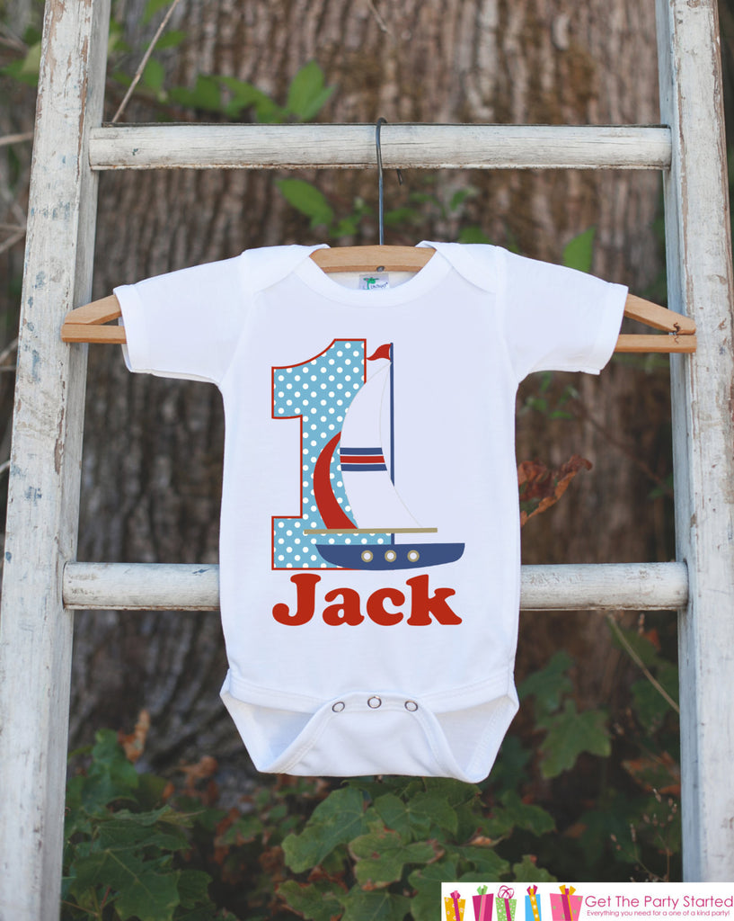 First Birthday Sailboat Outfit - Personalized Boat Bodysuit For Boy's 1st Birthday Party - Nautical Bodysuit Birthday Outfit - Red & Blue - Get The Party Started