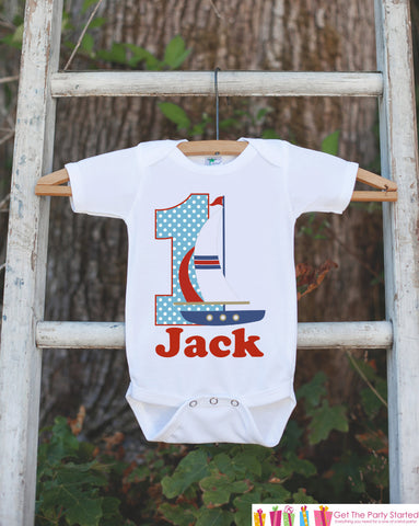 First Birthday Sailboat Outfit - Personalized Boat Bodysuit For Boy's 1st Birthday Party - Nautical Bodysuit Birthday Onepiece - Red & Blue