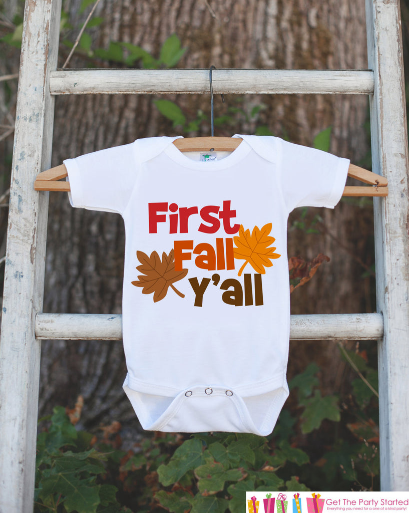 First Fall Y'all - Baby's First Fall Outfit for New Baby Boy or Baby Girl - Autumn Leaves Onepiece - Infant Newborn Keepsake - Southern