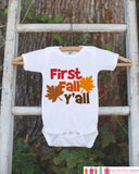 First Fall Y'all - Baby's First Fall Outfit for New Baby Boy or Baby Girl - Autumn Leaves Onepiece - Infant Newborn Keepsake - Southern - Get The Party Started