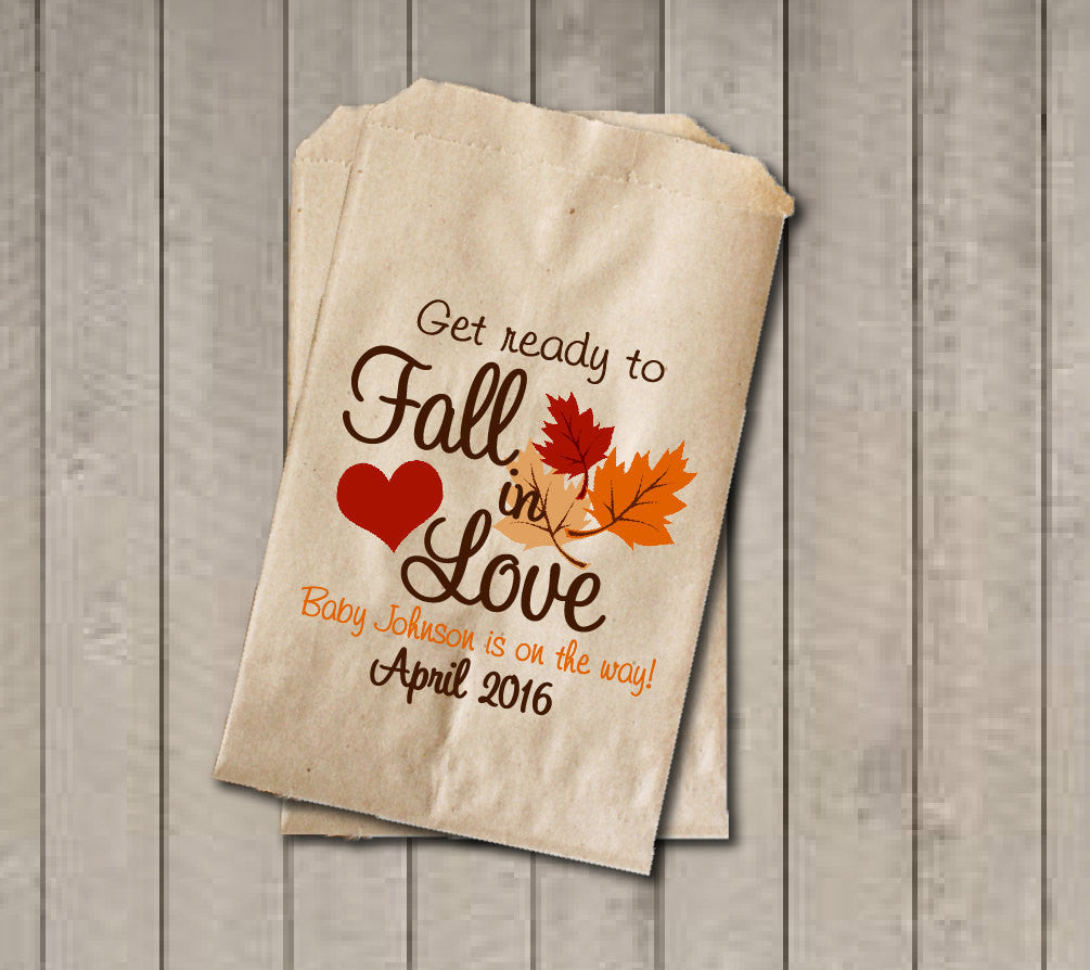Fall Baby Shower Favor Bags, Fall in Love Bags, Fall Candy Bags, Baby Shower Candy Buffet, Boy Baby Shower, Girl Baby Shower - Fall Colors - Get The Party Started