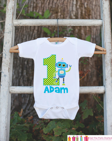 First Birthday Robot Outfit - Personalized Robot Bodysuit For Boy's 1st Birthday Party - Robot Bodysuit Birthday Onepiece With Name & Age - Get The Party Started