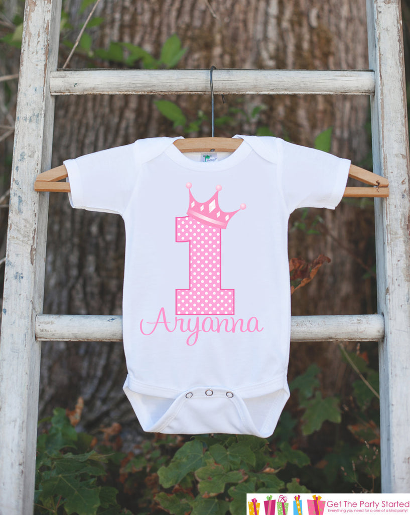 First Birthday Princess Outfit - Personalized Princess Bodysuit For Girls 1st Birthday Party - Pink Princess Birthday Onepiece w/ Name & Age - Get The Party Started