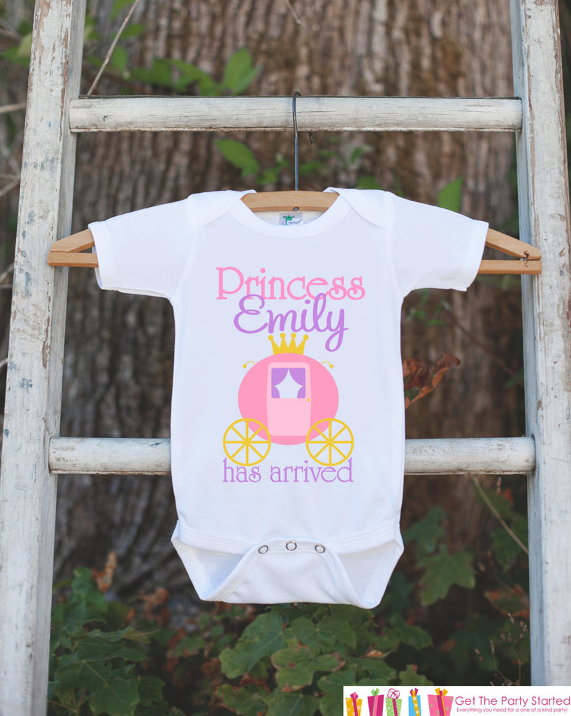 The Princess Has Arrived Bodysuit For Newborn Baby Girls - Princess Carriage Onepiece - Take Home Outfit - Baby Shower Gift for Infant Girl - Get The Party Started