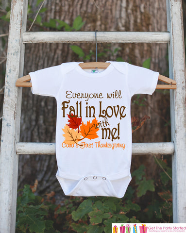 Fall In Love With Me - Autumn Leaves Onepiece - First Thanksgiving Outfit for New Baby Boy or Baby Girl - Baby's First Thanksgiving Keepsake - Get The Party Started