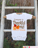 Thankful For Me Thanksgiving Shirt - Thanksgiving Onepiece - Thanksgiving Outfit for Baby Boy or Baby Girl - First Thanksgiving Fall Leaves - Get The Party Started