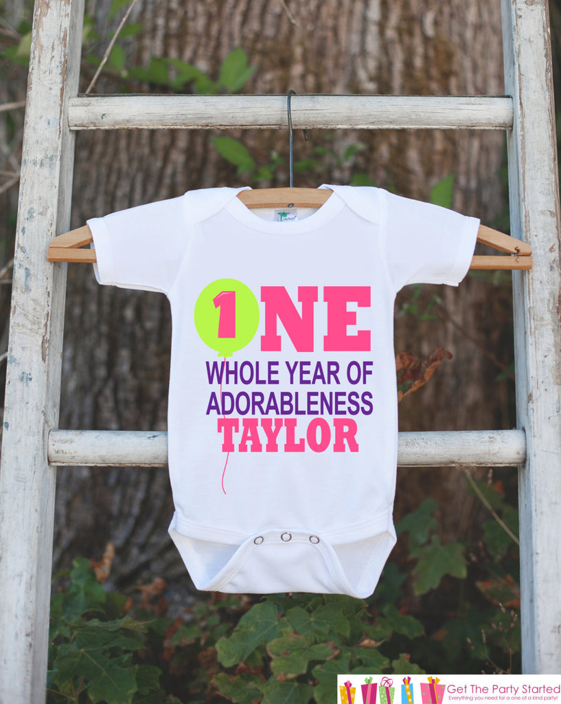 First Birthday Outfit - Personalized Bodysuit For Girl's 1st Birthday Party - 1st Birthday Onepiece - Custom One Whole Year of Adorableness - Get The Party Started