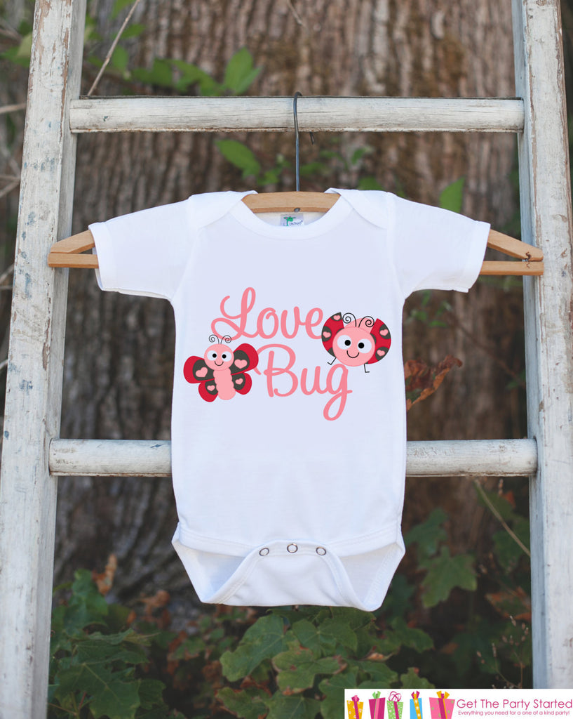 Novelty Love Bug Outfit For Baby Girls - Valentine's Day Love Bug Onepiece - Pink & Red Onepiece - Baby Shower Gift for Newborn Baby Girl - Get The Party Started