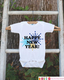 Happy New Year Outfit - New Years Eve Onepiece With Fireworks - Baby's First Holiday - 1st New Year Outfit for Baby Boys or Baby Girls - Get The Party Started