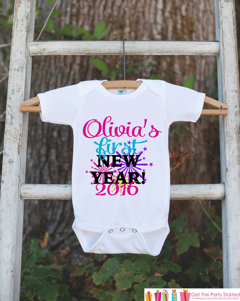 First New Year Outfit - Personalized New Years Eve Onepiece With Fireworks - Baby's First Holiday - 1st New Year Bodysuit for Baby Girls - Get The Party Started
