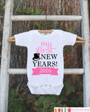 My First New Years Outfit - Happy New Years Eve Onepiece - Baby's First Holiday - 1st New Year Bodysuit for Baby Girls - Pink & Black Tophat - Get The Party Started