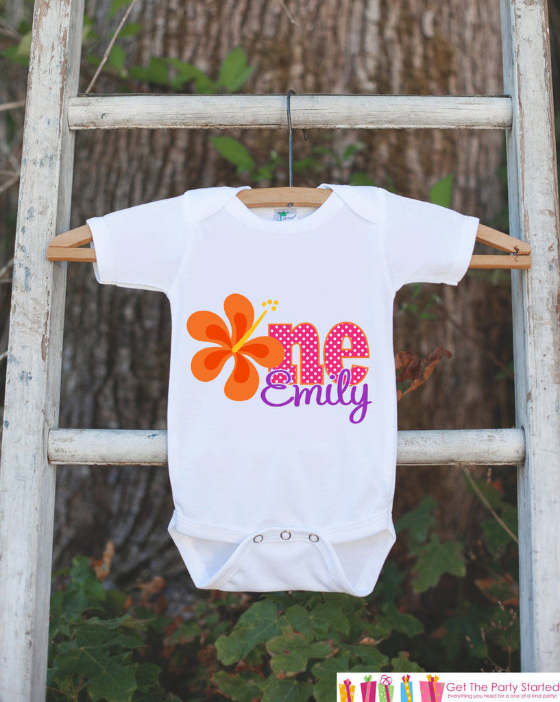 Hawaiian Luau 1st Birthday Outfit - Personalized Luau Bodysuit For Girls First Birthday Party - Hawaiian Flower ONE Birthday Bodysuit - Get The Party Started