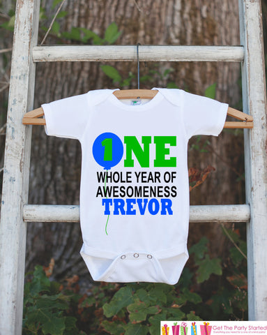 First Birthday Outfit - Personalized Bodysuit For Boy's 1st Birthday Party - 1st Birthday Onepiece - Custom One Whole Year of Awesomeness - Get The Party Started