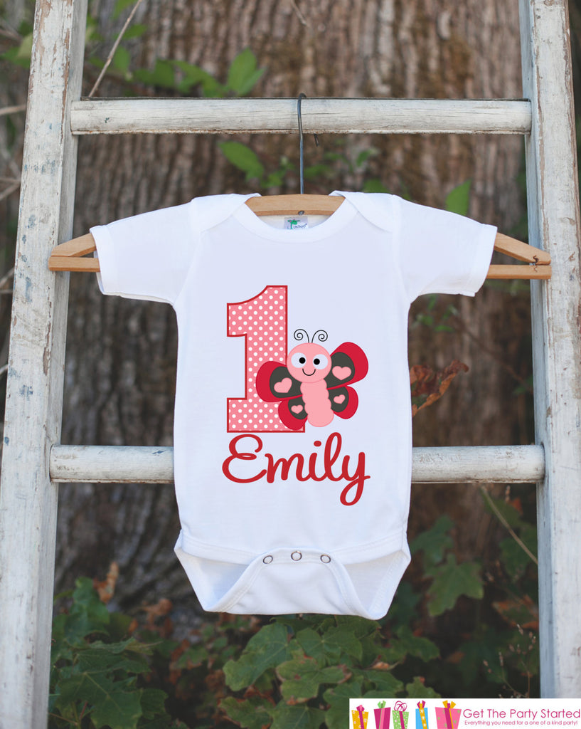 7d91bf3e5 First Birthday Butterfly Outfit - Personalized Lovebug Bodysuit For Gi –  Get The Party Started
