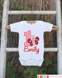 First Birthday Butterfly Outfit - Personalized Lovebug Bodysuit For Girl's 1st Birthday Party - Love Bug Onepiece Birthday Shirt with Name