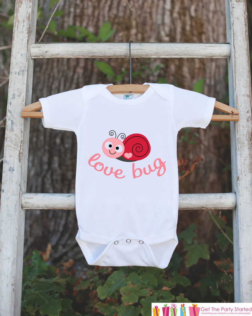 Novelty Love Bug Outfit For Baby Girls - Valentine's Day Love Bug Onepiece - Pink & Red Snail - Baby Shower Gift for Newborn Baby Girls - Get The Party Started