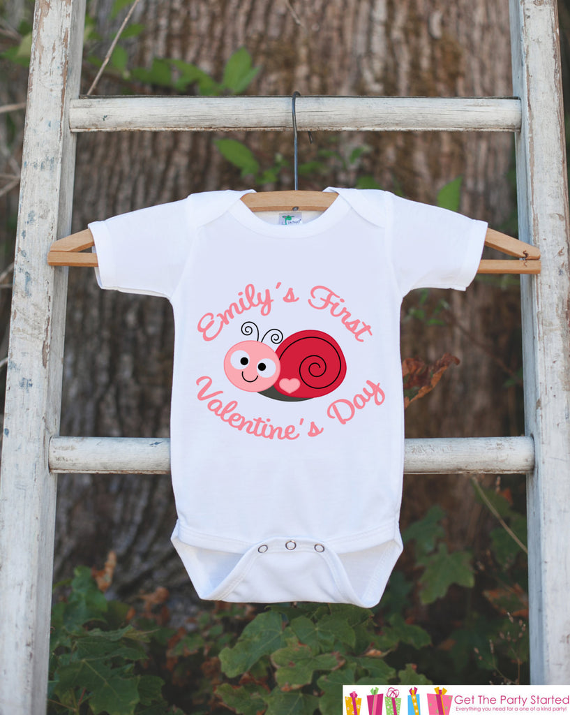 First Valentine's Day Outfit For Baby Girls - Custom Valentine's Day Onepiece - Pink & Red 1st Valentines Day Bodysuit - Newborn Baby Girls - Get The Party Started