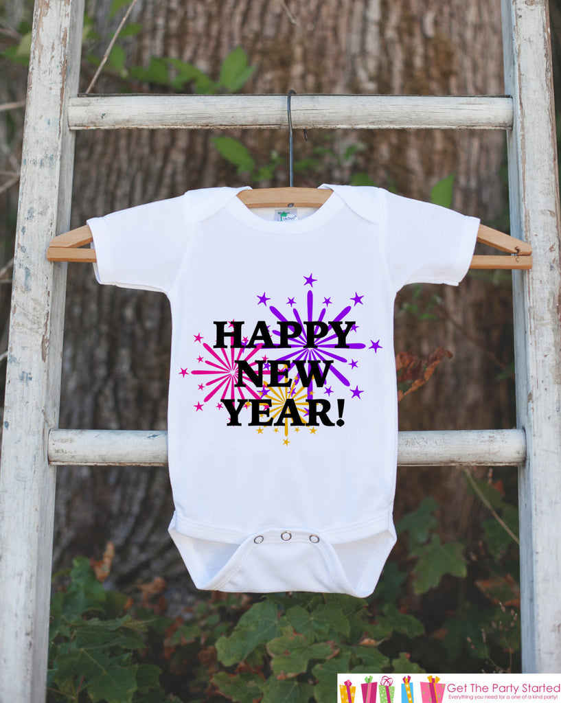 Happy New Year Outfit - New Years Eve Onepiece With Fireworks - Baby's First Holiday - 1st New Year Outfit for Baby Girls - Get The Party Started