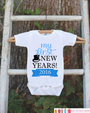 My First New Years Outfit - Happy New Years Eve Onepiece - Baby's First Holiday - 1st New Year Bodysuit for Baby Boys - Blue & Black Tophat - Get The Party Started