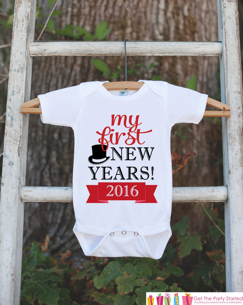 My First New Years Outfit - Happy New Years Eve Onepiece - Newborn Keepsake Outfit - 1st New Year Bodysuit for Baby Girls or Baby Boys - Get The Party Started
