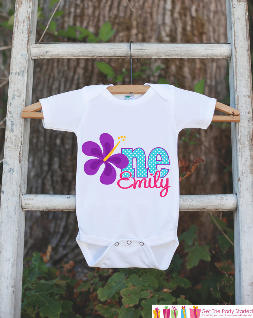 Purple Hawaiian Luau 1st Birthday Outfit - Personalized Luau Bodysuit For Girls First Birthday Party - Hawaiian Flower ONE Birthday Bodysuit - Get The Party Started
