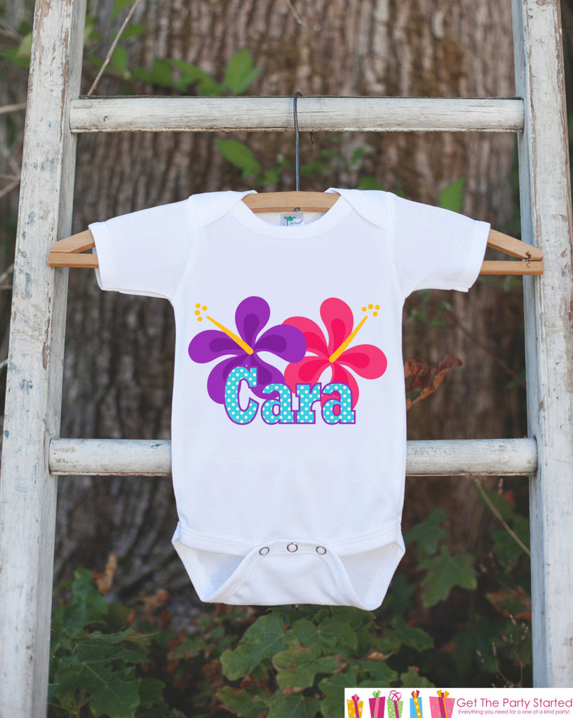 Hawaiian Luau Birthday Outfit - Personalized Luau Bodysuit For Girls Birthday Party - Hawaiian Flower Birthday Bodysuit - Custom Party Shirt - Get The Party Started