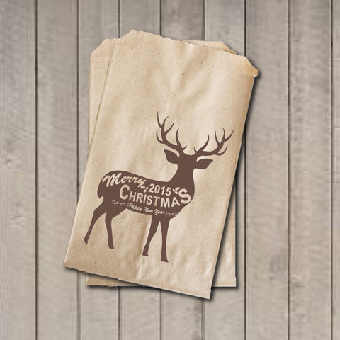 Christmas Candy Favor Bags, Merry Christmas 2015 Candy Bags, Reindeer Party Favor Bags, Holiday Party Bag, Candy Buffet, Sweets, Deer Treats - Get The Party Started