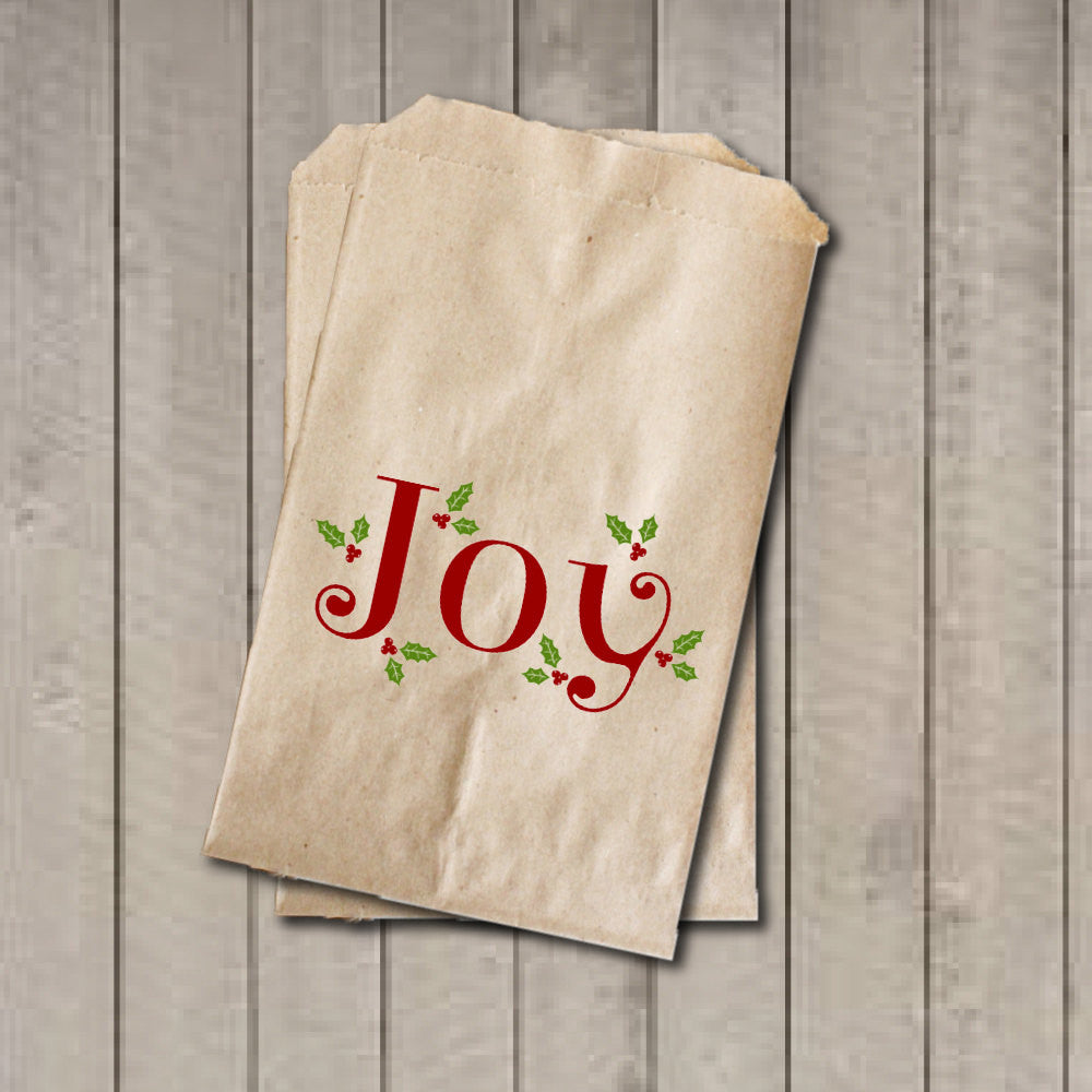 Christmas Candy Favor Bags, JOY Candy Bags with Holly, Christmas Party Favor Bags, Holiday Party Bag, Candy Buffet, Sweets, Treats, Dessert - Get The Party Started
