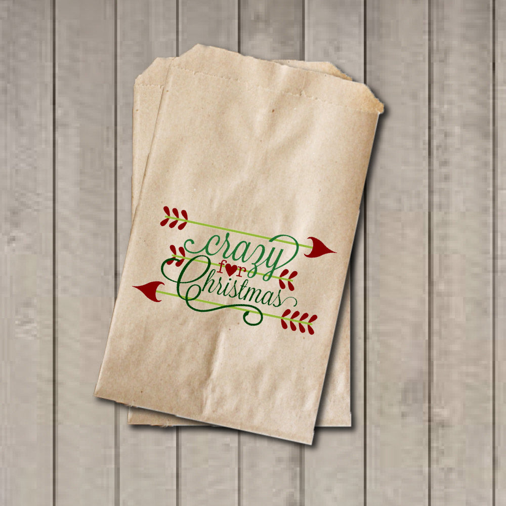 Christmas Candy Favor Bags, Crazy for Christmas Candy Bags, Christmas Party Favor Bags, Holiday Party Bag, Candy Buffet, Sweets, Treats - Get The Party Started