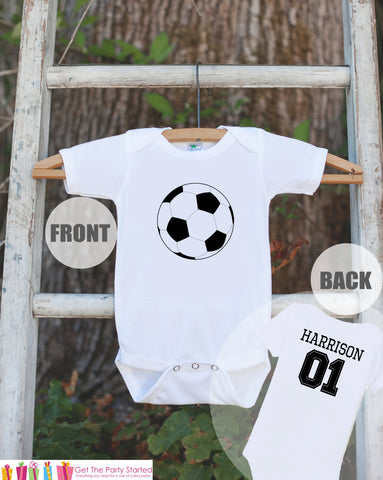 Soccer Jersey Outfit - Personalized Bodysuit For Boy's 1st Birthday Party - Soccer Onepiece Birthday Shirt With Name & Age or Number - Get The Party Started