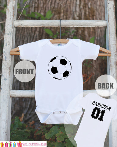 Soccer Jersey Outfit - Personalized Bodysuit For Boy's 1st Birthday Party - Soccer Onepiece Birthday Shirt With Name & Age or Number