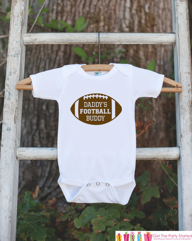 Novelty Football Bodysuit - Football Baby Shower Gift For Boys - Football Onepiece - Daddy's Football Buddy Shirt - Baby Boy Football Outfit - Get The Party Started