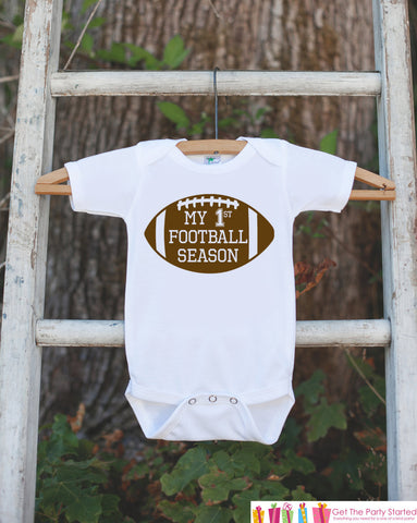 Novelty Football Outfit - My 1st Football Season - Baby Shower Gift For Boys - Football Onepiece - Football Shirt - Father's Day Gift - Get The Party Started