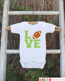 Novelty LOVE Football Outfit - Football Baby Shower Gift For Baby Boys - Football Onepiece - Love Football Shirt - Father's Day Gift Idea - Get The Party Started
