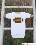 Novelty Football Outfit - Football with Baby's Name - Baby Shower Gift For Boys - Football Onepiece - Personalized Birthday Football Shirt