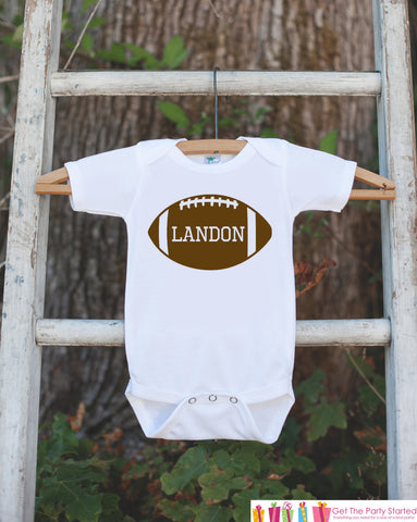 Novelty Football Outfit - Football with Baby's Name - Baby Shower Gift For Boys - Football Onepiece - Personalized Birthday Football Shirt - Get The Party Started