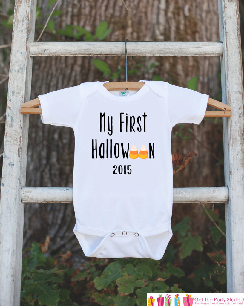 My First Halloween Outfit 2015 - Baby's 1st Halloween Onepiece with Candy Corn - Halloween Bodysuit for Baby Boy or Girl - My 1st Halloween - Get The Party Started