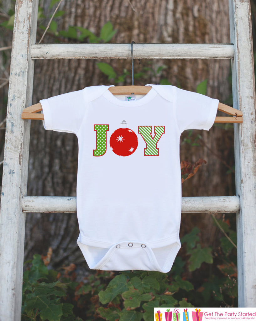 JOY Holiday Outfit with Ornament - Novelty Christmas Shirt for Kids - Christmas Onepiece - Baby Holiday Party Outfit - Kids Christmas Outfit - Get The Party Started